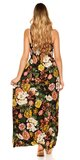 Kvetinové letné maxi šaty Čierna