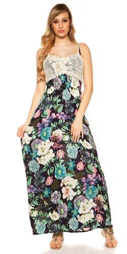 Kvetinové letné maxi šaty | Tmavomodrá