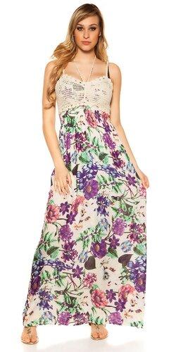 Kvetinové letné maxi šaty | Biela