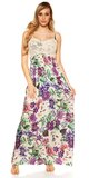 Kvetinové letné maxi šaty Biela