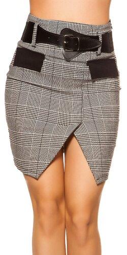Čierno-biela sukňa s opaskom | Čierno-biela