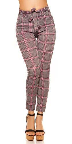 Dámske kárované nohavice s opaskom | Ružová