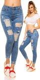 Džínsy s rozparkami a vysokým pásom Modrá