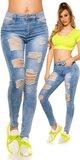 Džínsy s dierami a vysokým pásom Modrá