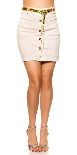 Denim sukňa so štýlovým opaskom | Béžová