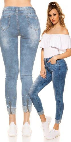 e5283bb51535 Elastické dámske džíny s perličkami ...