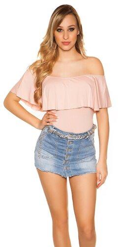 Klasický letný top s odhalenými ramenami | Bledá ružová