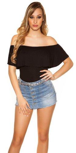 Klasický letný top s odhalenými ramenami | Čierna