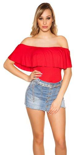 Klasický letný top s odhalenými ramenami | Červená