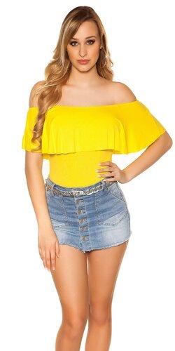 Klasický letný top s odhalenými ramenami | Žltá