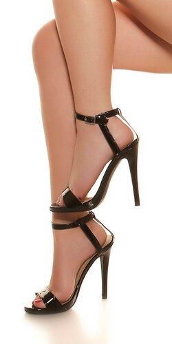 Lesklé sandále na ihličkovom podpätku | Čierna