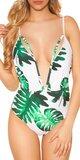 Krásne jednodielne plavky s V výstrihom Zelená
