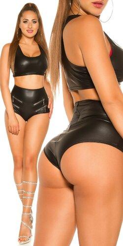 Sexy wetlook kraťasy s vysokým pásom | Čierna