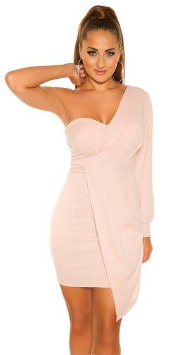 Mini šaty s jedným dlhým rukávom Bledá ružová