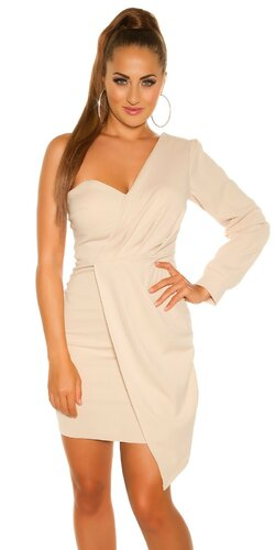 Mini šaty s jedným dlhým rukávom | Béžová