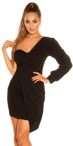 Mini šaty s jedným dlhým rukávom | Čierna