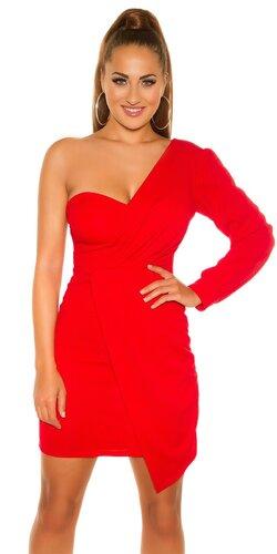 Mini šaty s jedným dlhým rukávom | Červená