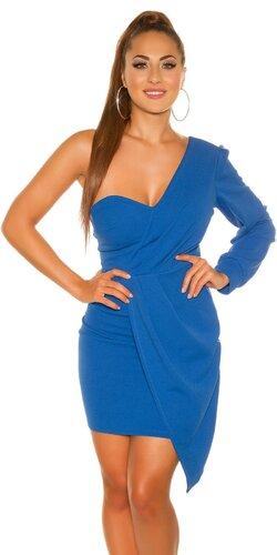 Mini šaty s jedným dlhým rukávom | Modrá
