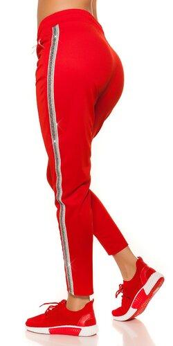 Dámske tepláky s trblietavým pásom na boku | Červená