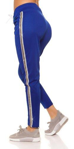 Dámske tepláky s trblietavým pásom na boku | Modrá