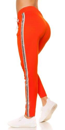 Dámske tepláky s trblietavým pásom na boku | Oranžová