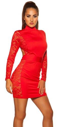 Čipkované mini šaty s odhaleným chrbtom | Červená