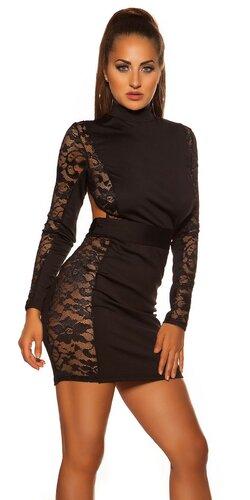 Čipkované mini šaty s odhaleným chrbtom | Čierna