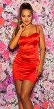 Mini šaty saténové na ramienkach Červená
