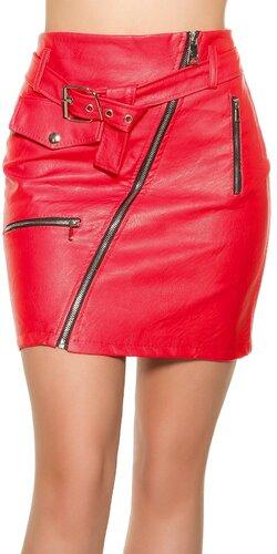 Kožená mini sukňa so zipsom   Červená