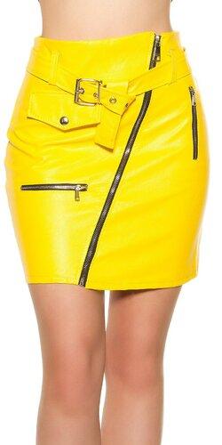 Kožená mini sukňa so zipsom   Žltá