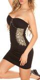Zdobené čierne mini šaty Čierna