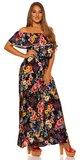 Letné kvetinové maxi šaty Tmavomodrá