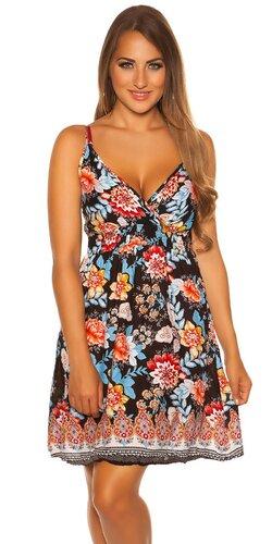 Letné mini šaty s potlačou | Čierna