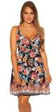 Letné mini šaty s potlačou Čierna