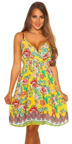 Letné mini šaty s potlačou | Žltá