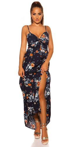 Ramienkové maxi šaty s potlačou | Tmavomodrá