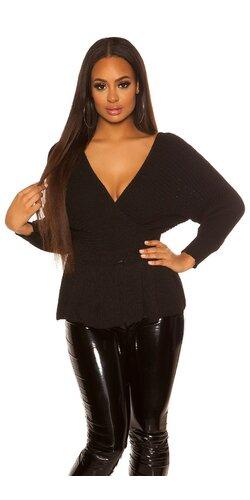 Peplum sveter | Čierna