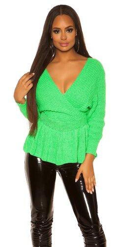 Peplum sveter | Zelená