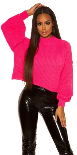 Oversize pletený sveter Ružová