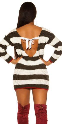 KouCla pletené šaty/dlhý sveter so sexy zadnou stranou | Khaki