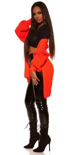 Veľký pletený kardigán | Oranžová