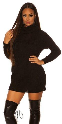 Pletené oversize šaty | Čierna