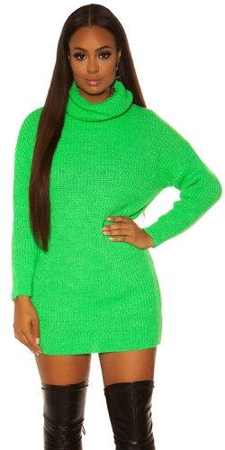Pletené oversize šaty   Zelená