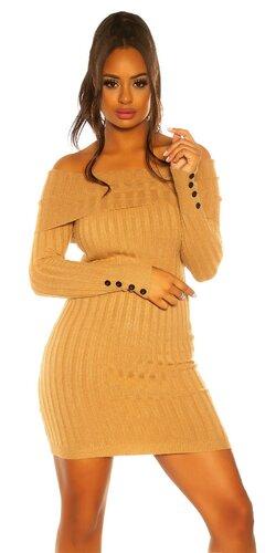 Pletené šaty s ozdobnými gombíkmi na rukávoch | Béžová