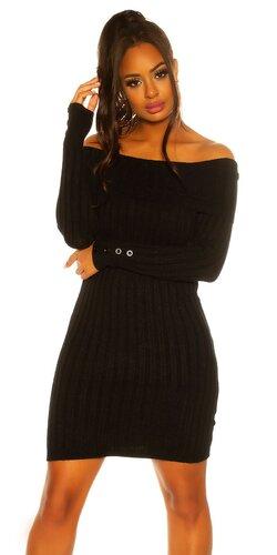 Pletené šaty s ozdobnými gombíkmi na rukávoch | Čierna
