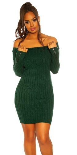 Pletené šaty s ozdobnými gombíkmi na rukávoch | Zelená