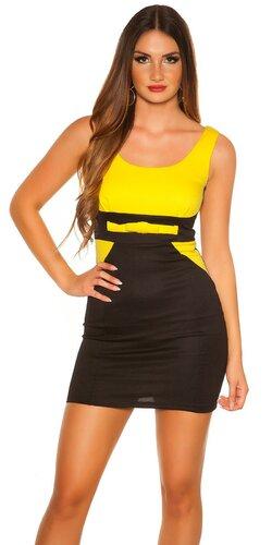 Dámske mini šaty ,,biznis look,, | Žltá