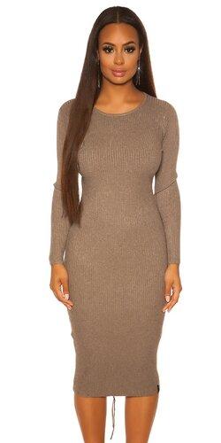 Maxi pletené vrúbkované šaty | Cappuccino