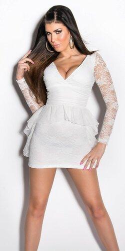 Dámske Štýlové šaty s dlhým rukávom | Biela