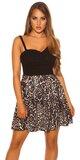 Mini šaty s Áčkovou sukňou so zvieracími vzormi Leopard
